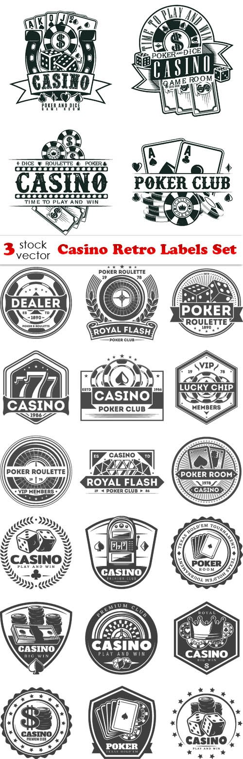 Vectors - Casino Retro Labels Set