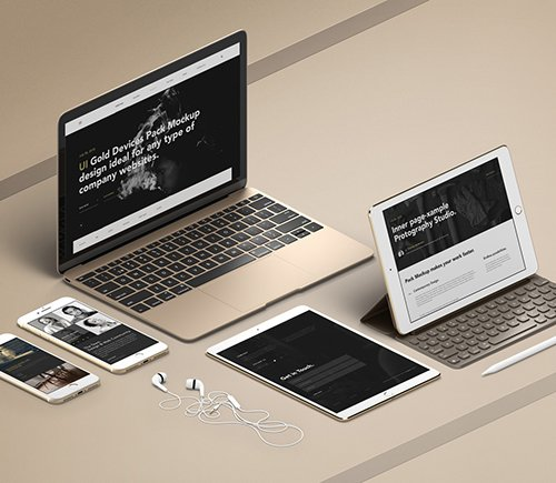 UI Gold Psd Apple Devices Pack