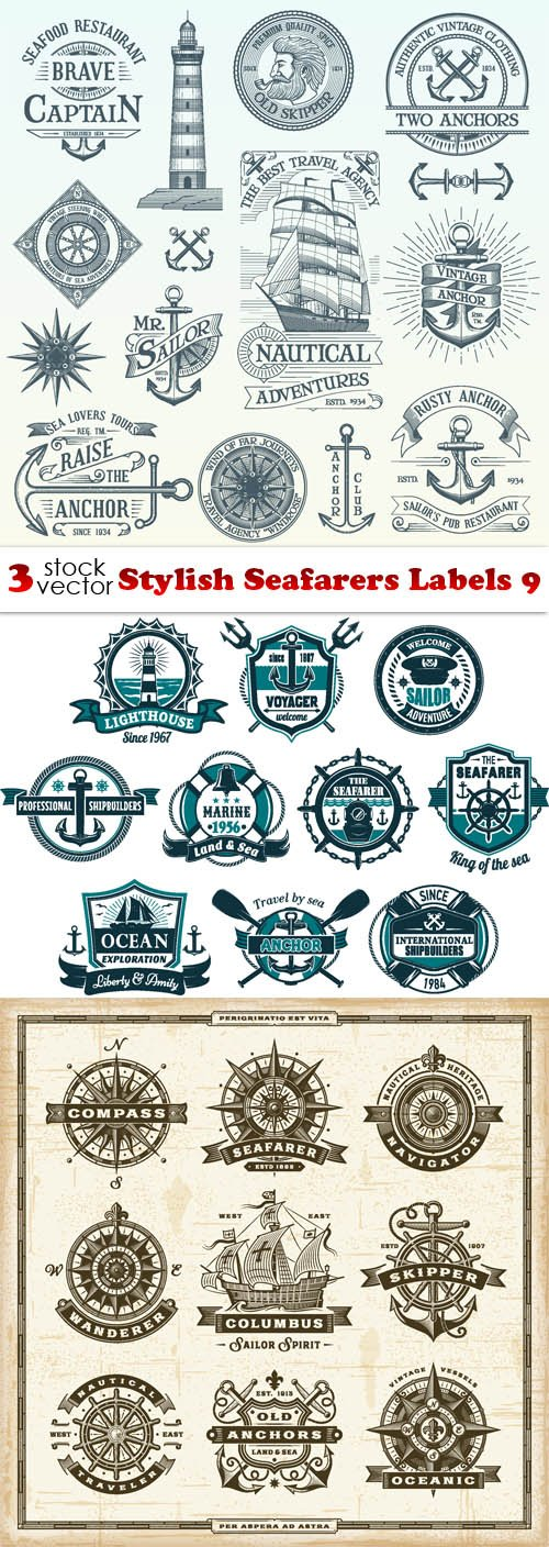 Vectors - Stylish Seafarers Labels 9