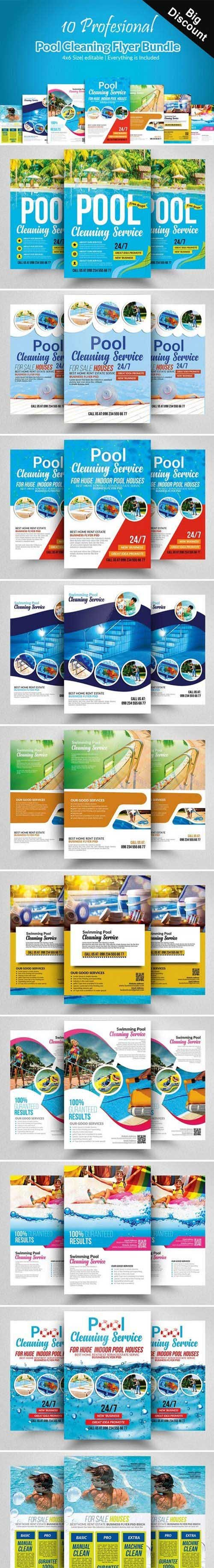 10 Pool Cleaning Flyers Bundle 2377502