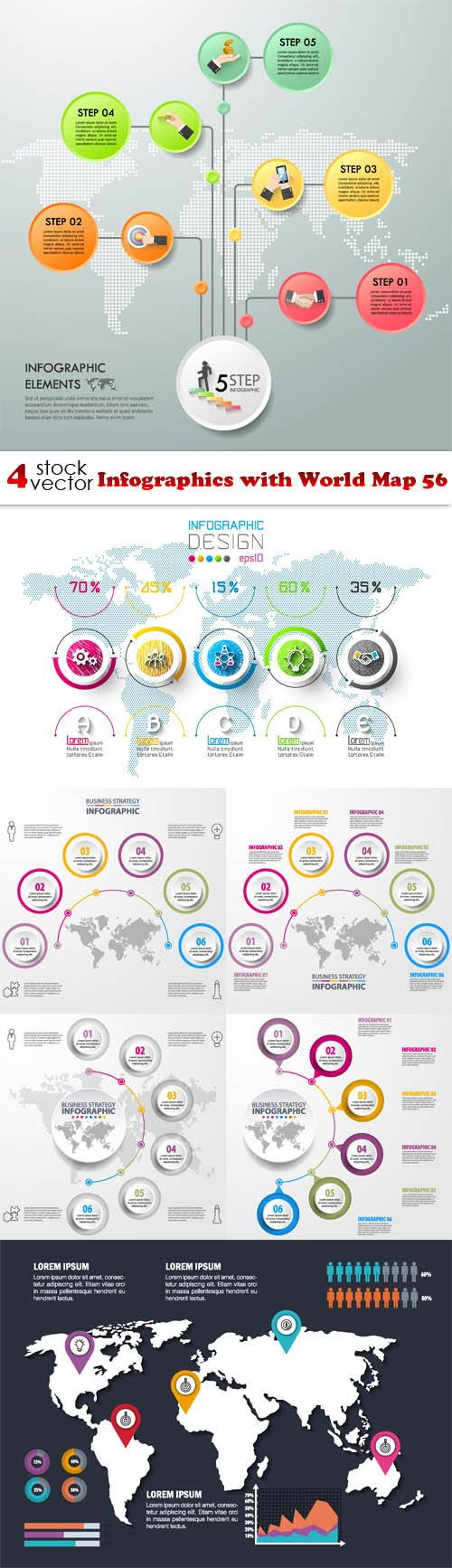 Vectors - Infographics with World Map 56
