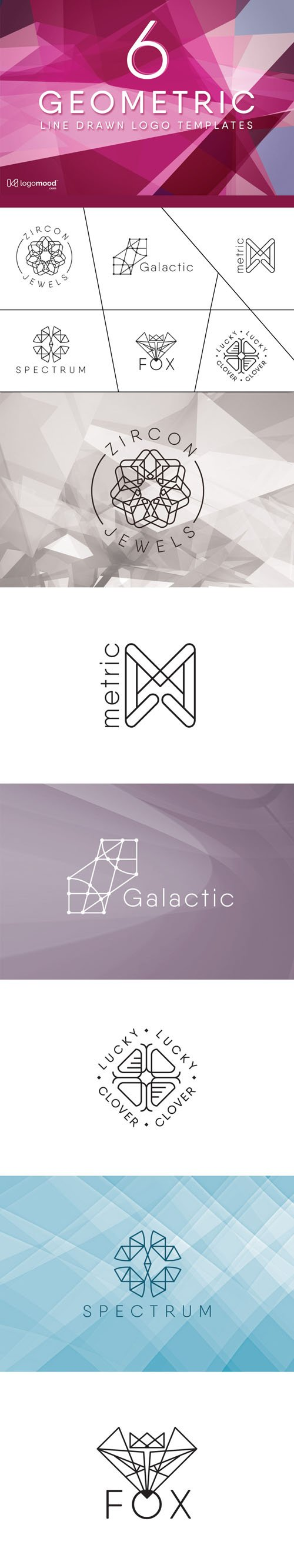 6 Geometric Line Drawn Logo Templates in Vector