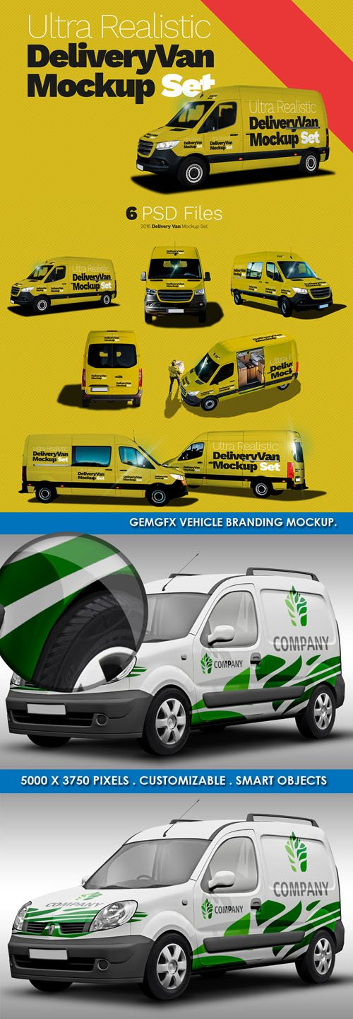 Ultra Realistic Delivery Van PSD Mockups Templates