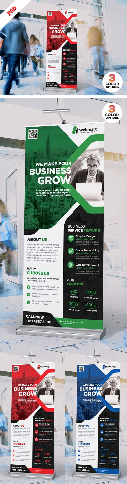 Corporate Roll-up Banner Design PSD Bundle