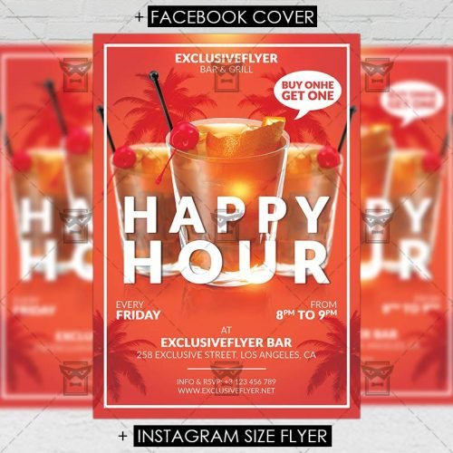 Premium A5 Flyer Template - Happy Hours