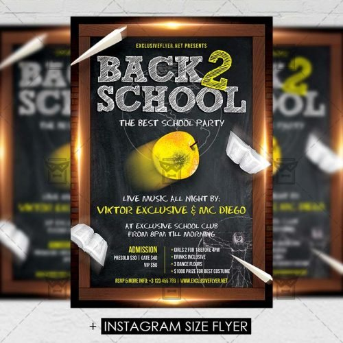 Premium A5 Flyer Template - Back To School Party