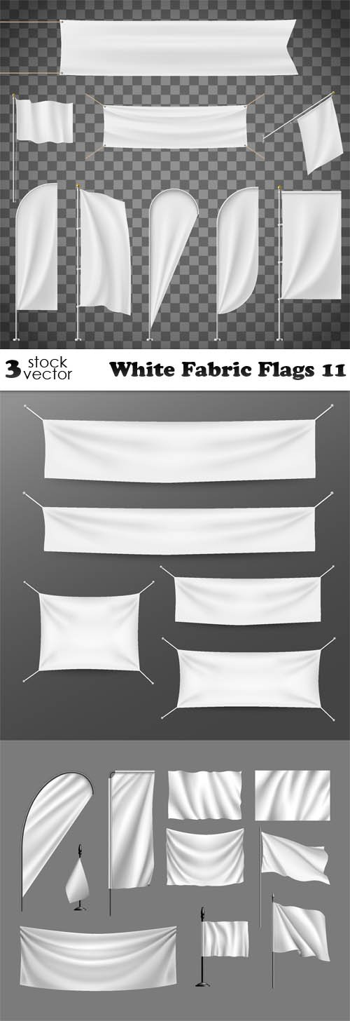 Vectors - White Fabric Flags 11