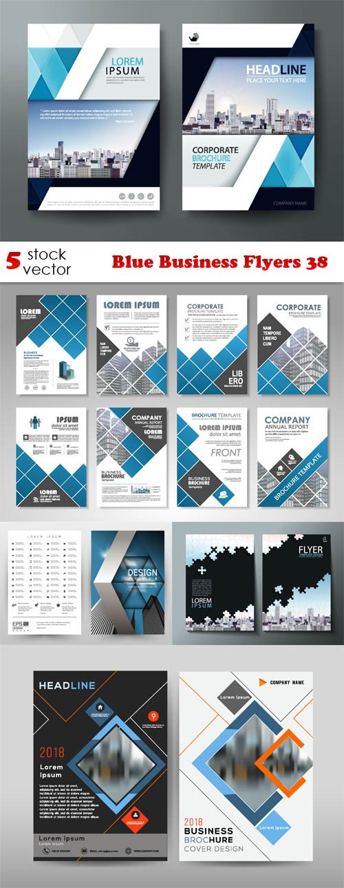 Vectors - Blue Business Flyers 38