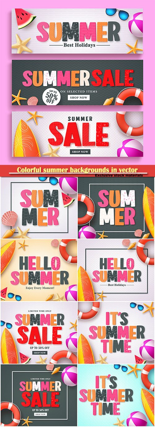 Colorful summer backgrounds in vector