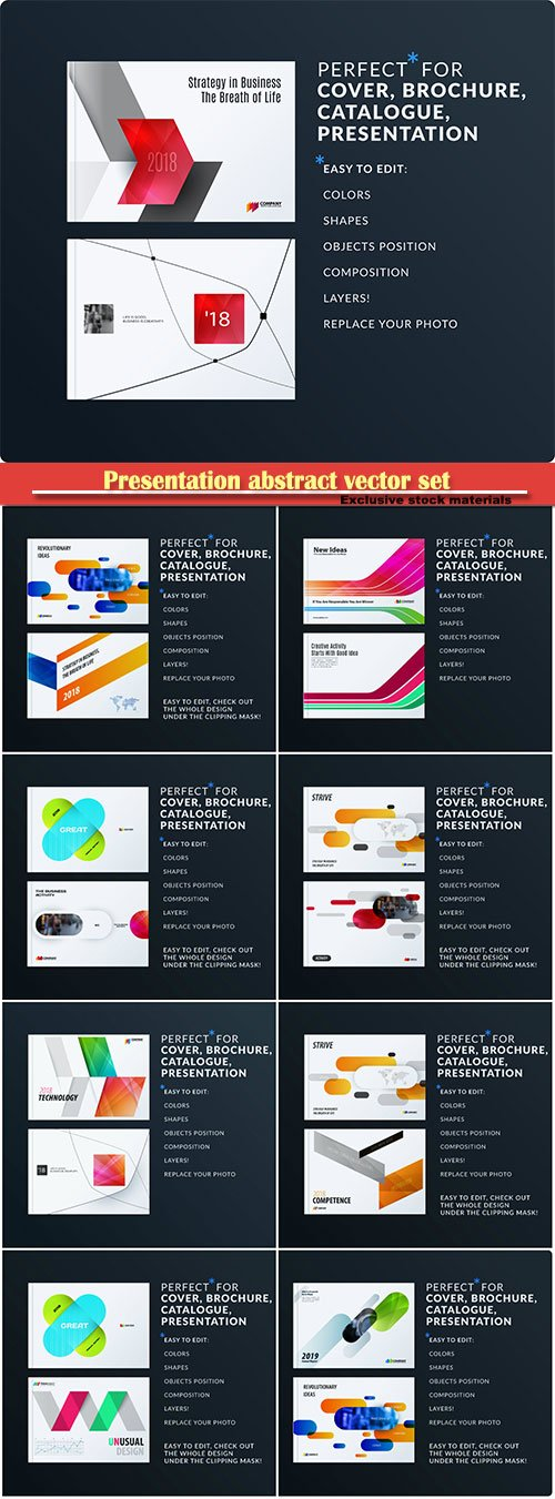 Presentation abstract vector set of modern horizontal business templates