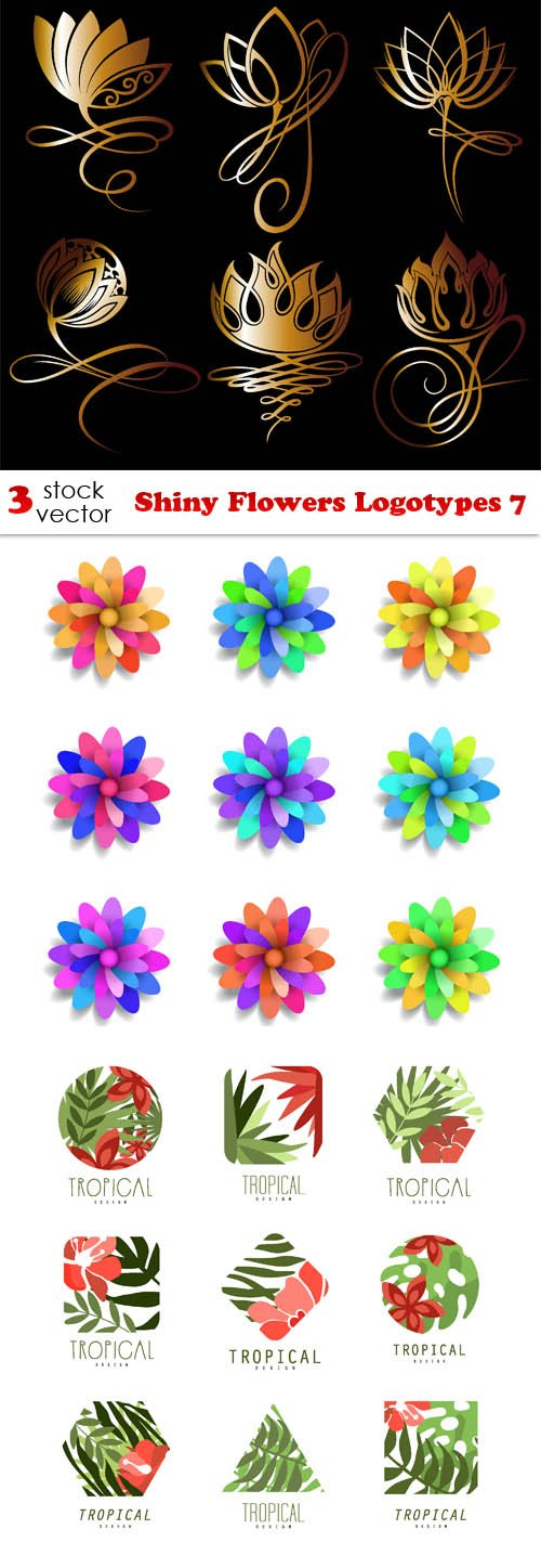Vectors - Shiny Flowers Logotypes 7