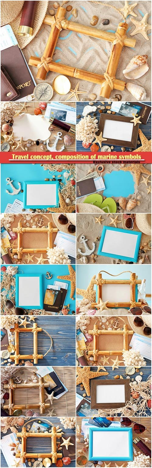 Travel concept, composition of marine symbols and blank photo frame