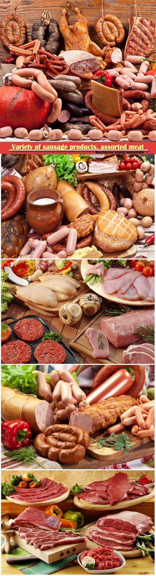Variety of sausage products, assorted meat