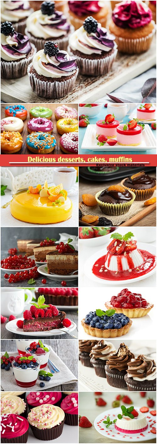 Delicious desserts, cakes, muffins, donuts