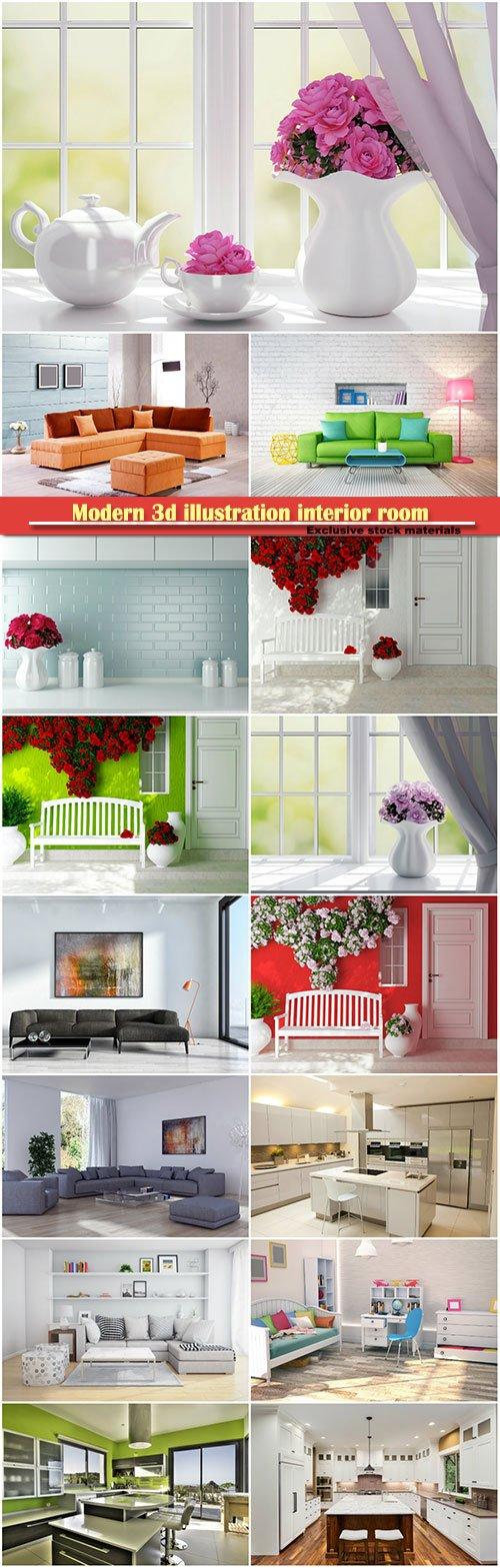 Modern 3d illustration interior room with a beautiful furniture, living room with shelves and sofa with pillows