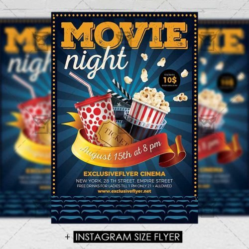 Premium A5 Flyer Template - Movie Night
