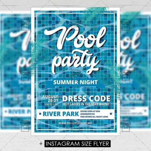 Premium A5 Flyer Template - Pool Party