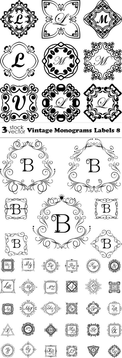 Vectors - Vintage Monograms Labels 8