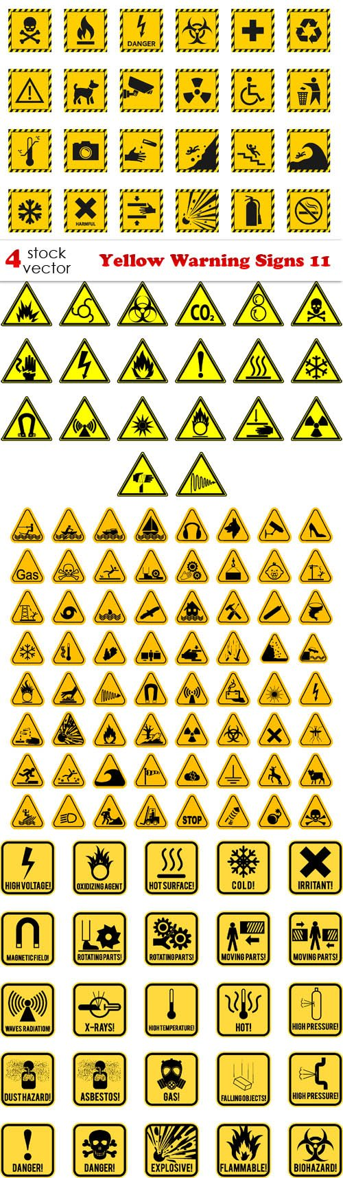 Vectors - Yellow Warning Signs 11