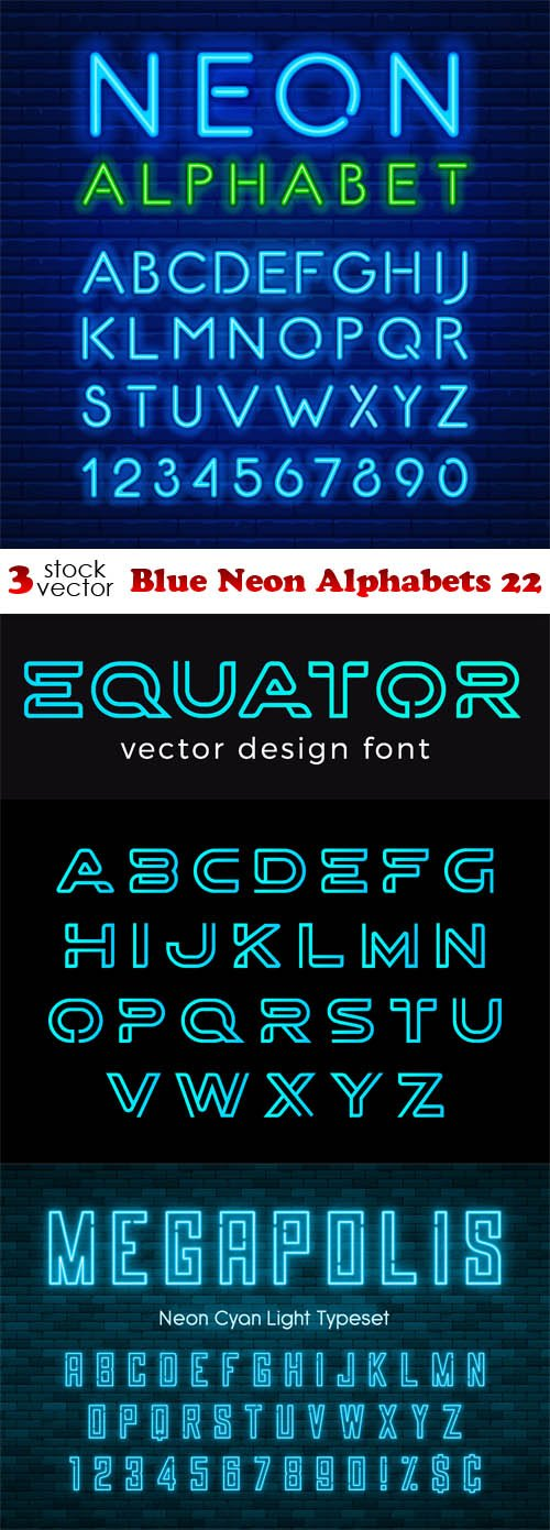 Vectors - Blue Neon Alphabets 22