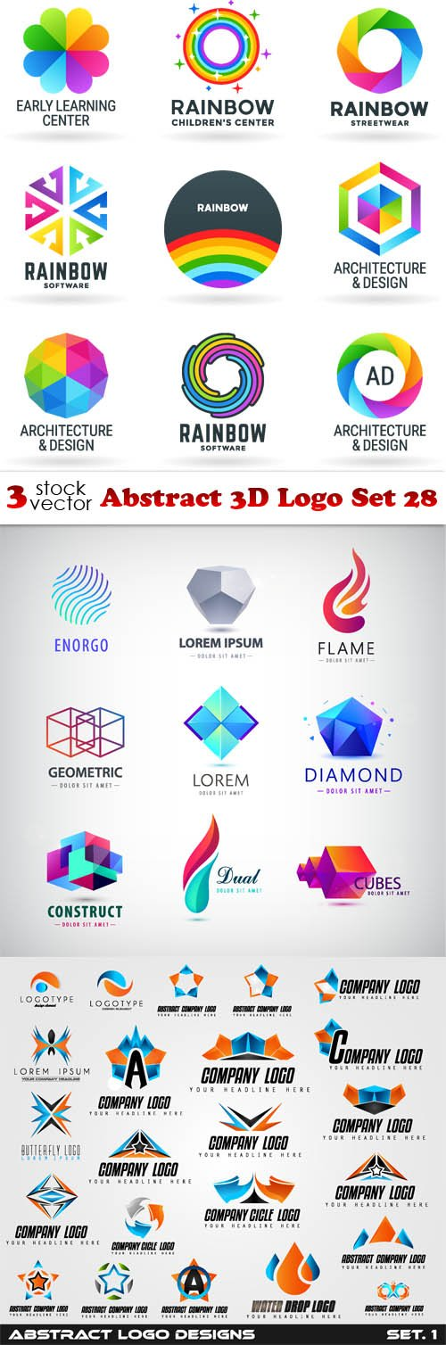 Vectors - Abstract 3D Logo Set 28