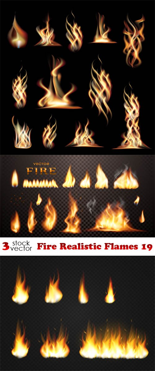 Vectors - Fire Realistic Flames 19