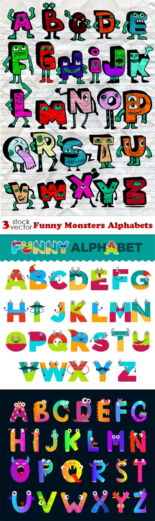 Vectors - Funny Monsters Alphabets