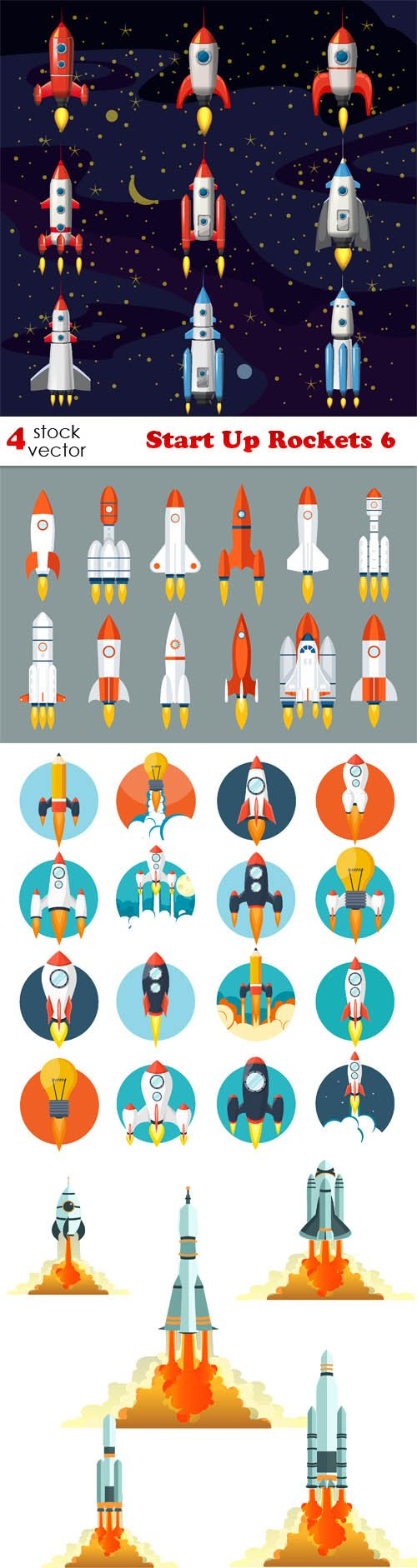 Vectors - Start Up Rockets 6