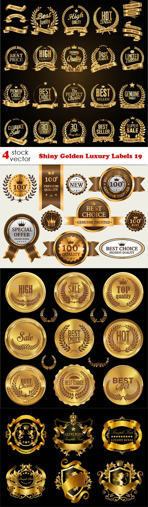 Vectors - Shiny Golden Luxury Labels 19