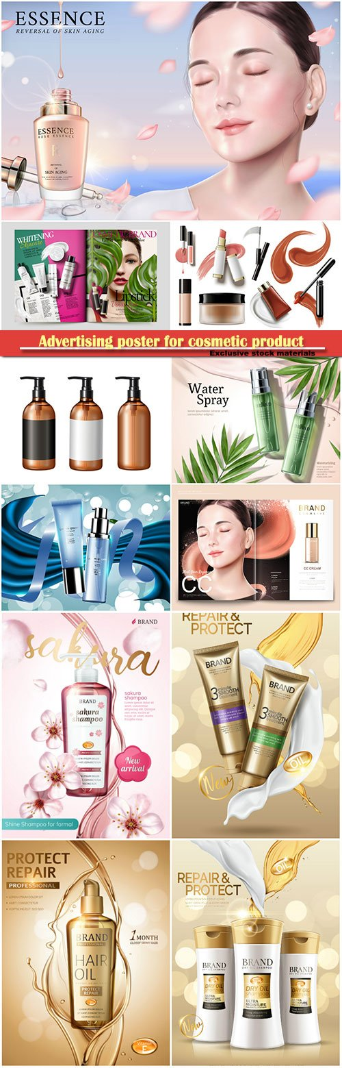 Advertising poster for cosmetic product, magazine, design of cosmetic package