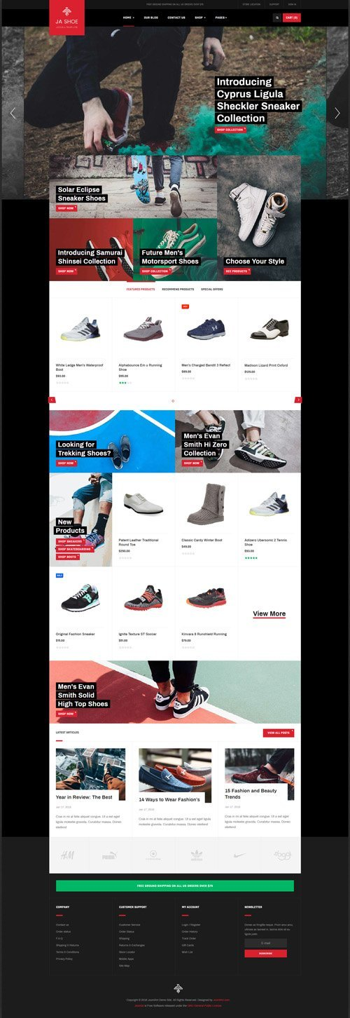 JoomlArt - JA Shoe Store v1.0.1 - Powerful eCommerce Joomla Template for Shoe Store website