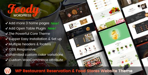 ThemeForest - Foody v1.1.0 - WordPress Restaurant Reservation & Food Store Website Theme - 20342574