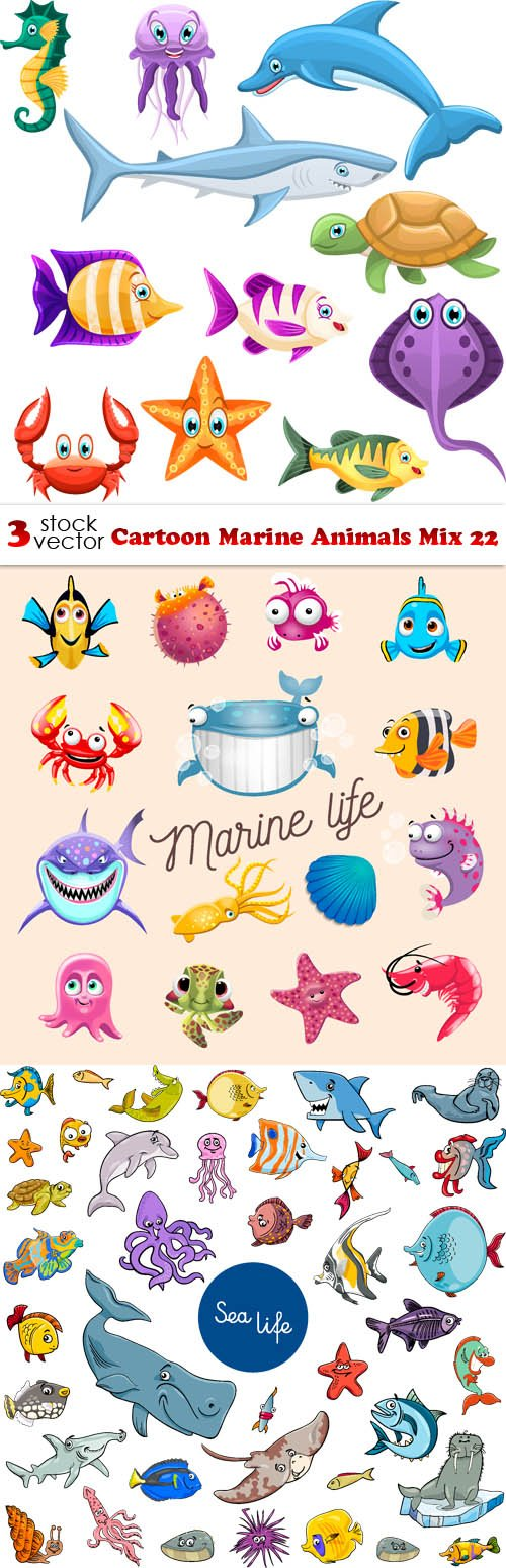 Vectors - Cartoon Marine Animals Mix 22