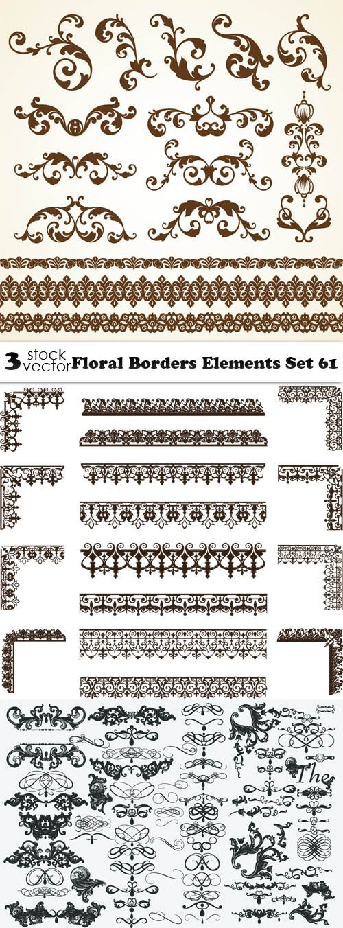 Vectors - Floral Borders Elements Set 61