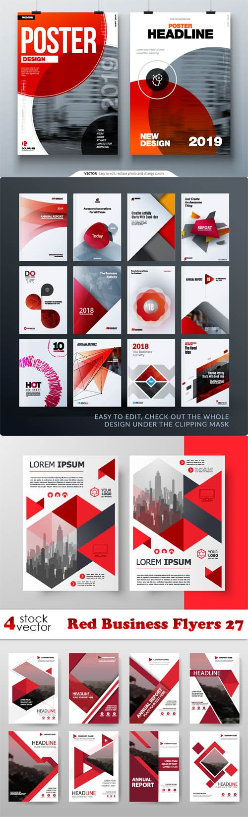 Vectors - Red Business Flyers 27