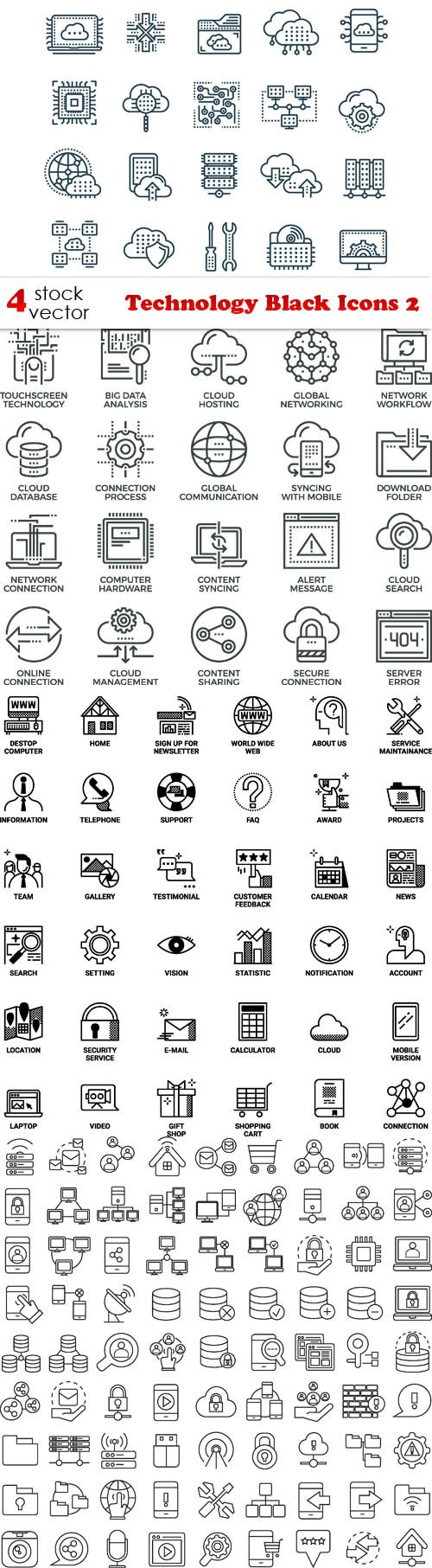 Vectors - Technology Black Icons 2