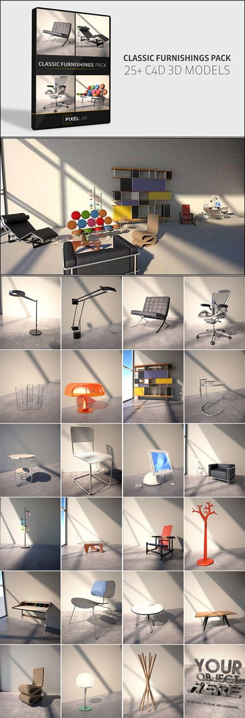Classic Furnishings 3D Models Pack (c4d)