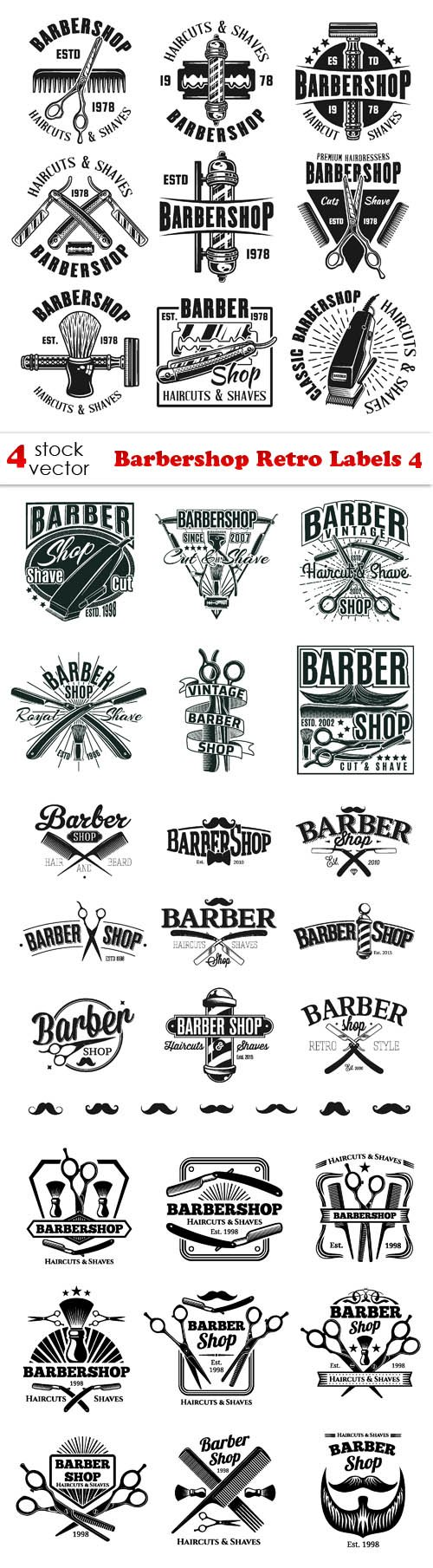Vectors - Barbershop Retro Labels 4
