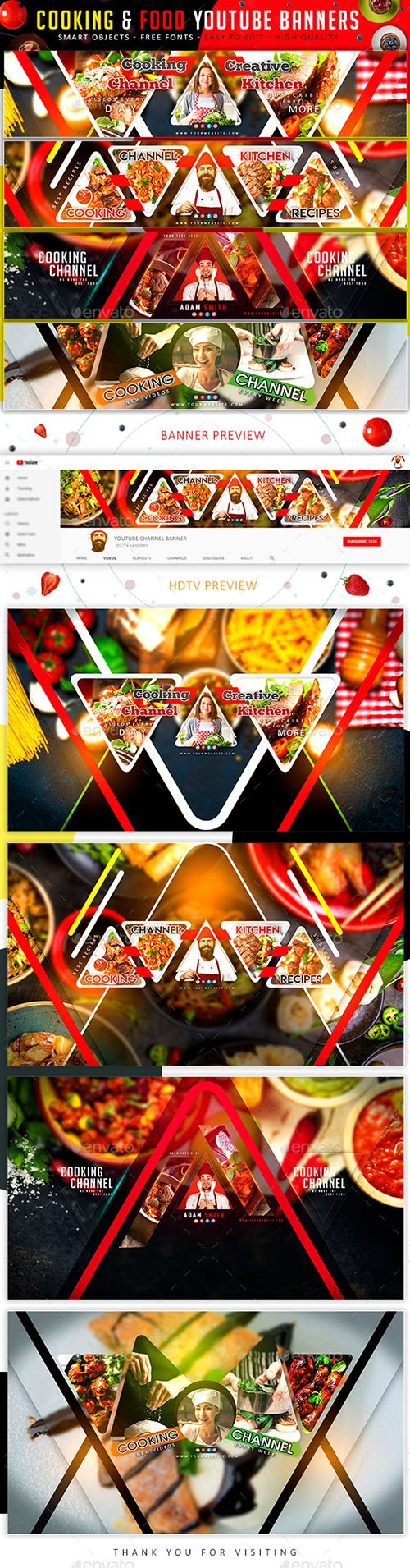 GraphicRiver - Cooking & Food YouTube Banners 21884419