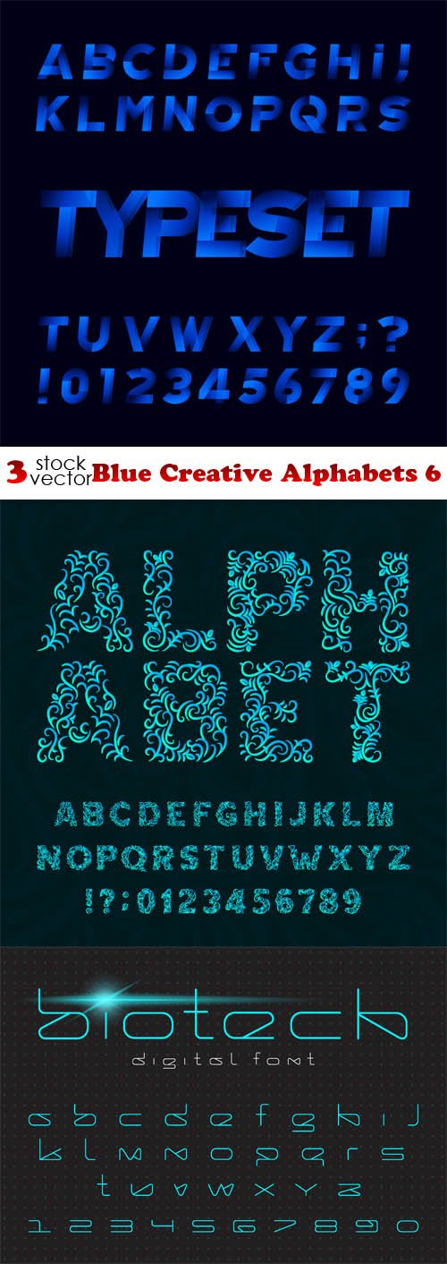 Vectors - Blue Creative Alphabets 6
