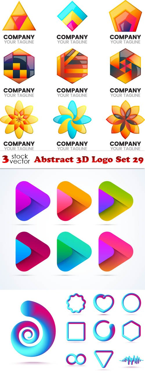 Vectors - Abstract 3D Logo Set 29