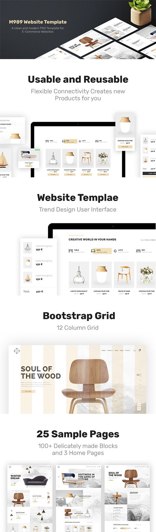 M989 Web Template - Clean and modern PSD template for e-commerce websites