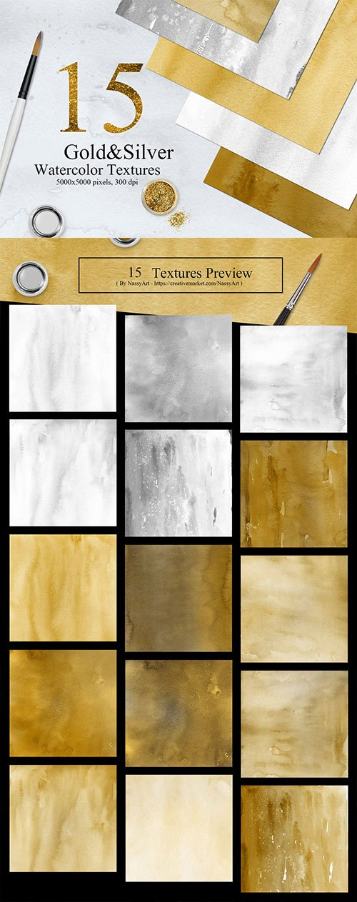 15 Gold and Silver Colors Watercolor Textures