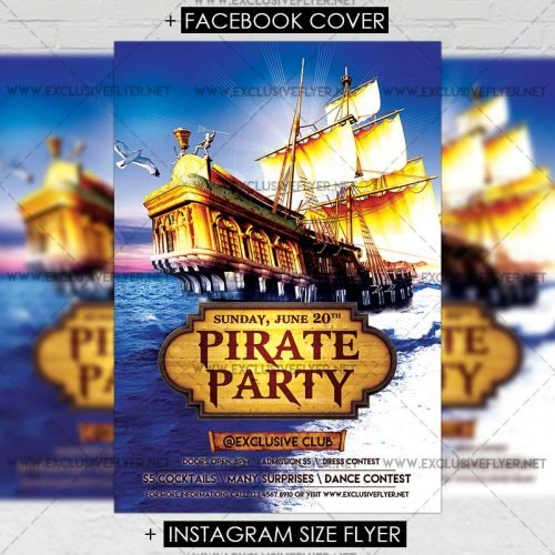 Premium A5 Flyer Template - Pirate Party