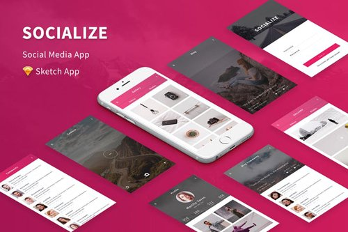 Socialize - Social Media Mobile APP for Sketch