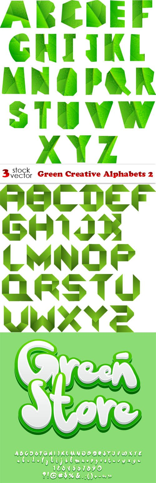 Vectors - Green Creative Alphabets 2