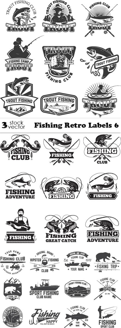 Vectors - Fishing Retro Labels 6