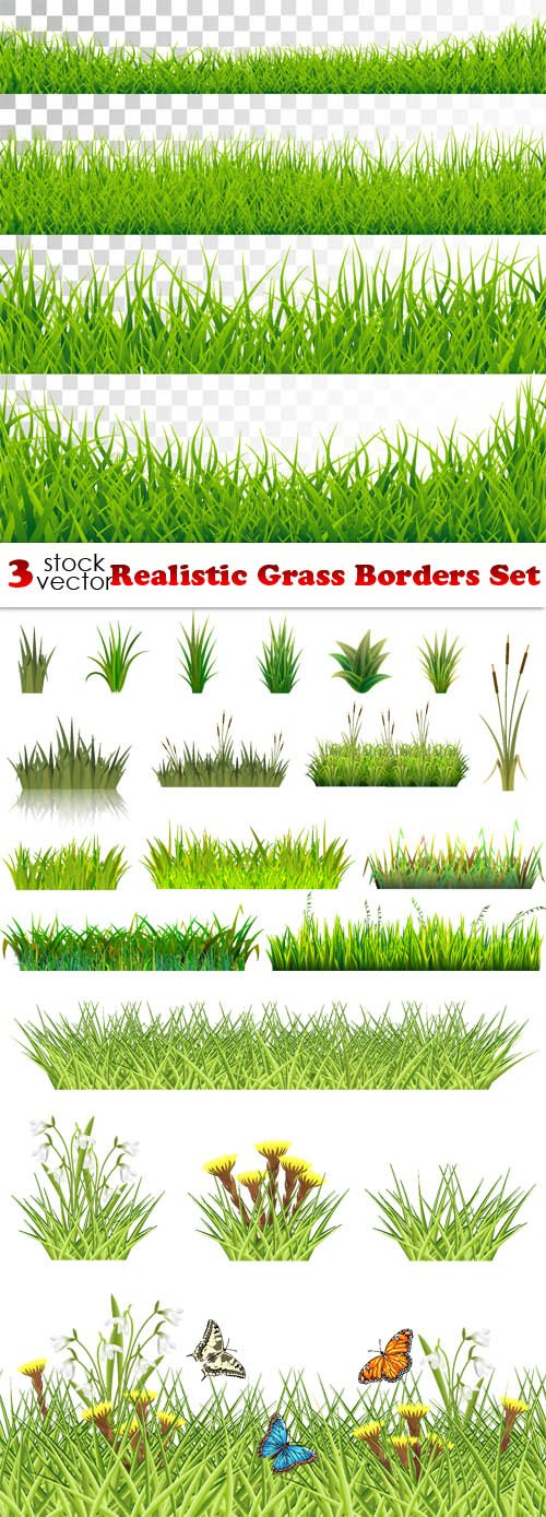 Vectors - Realistic Grass Borders Set