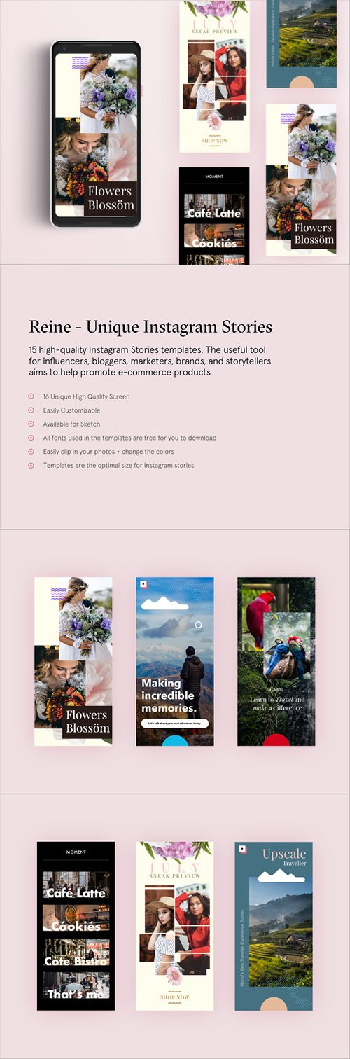 Reine Unique Insta Stories - 15 High-quality Instagram Stories templates for Sketch