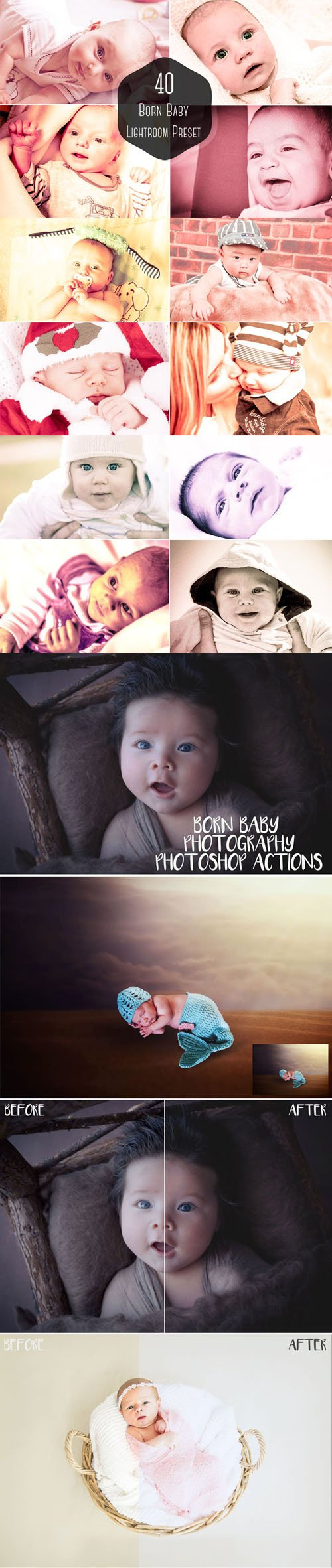 42 Born Baby Lightroom Presets & Photoshop Actions
